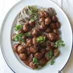 sticky honey soy pork meatballs