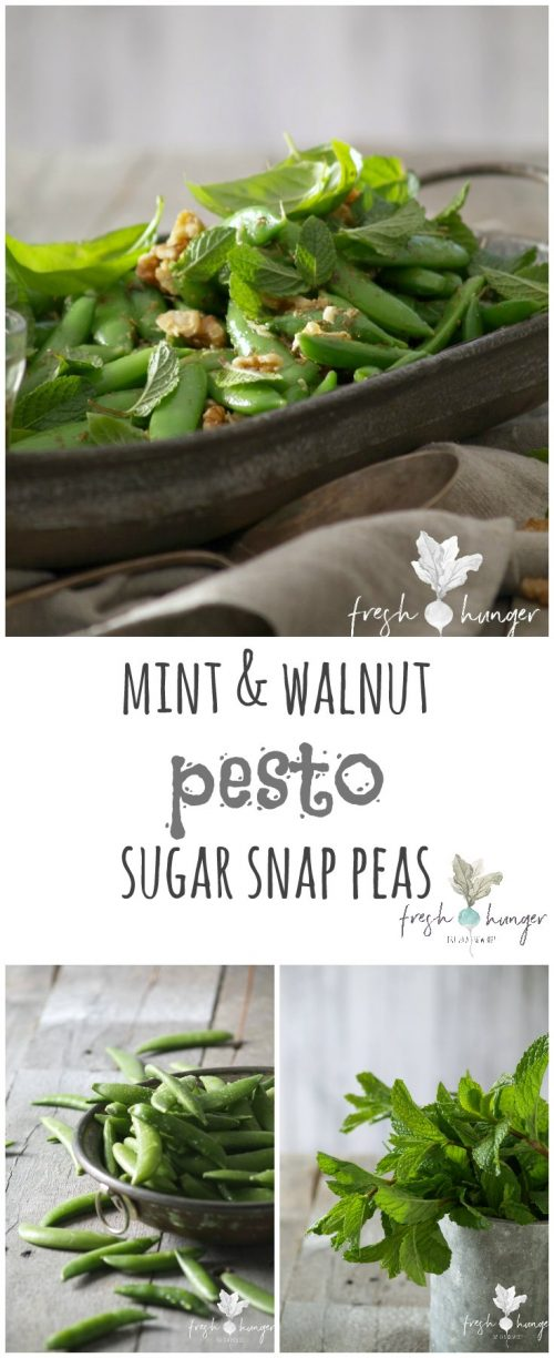 mint & walnut pesto sugar snap peas