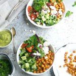 spiced chickpea bowl with lemony avocado dressing
