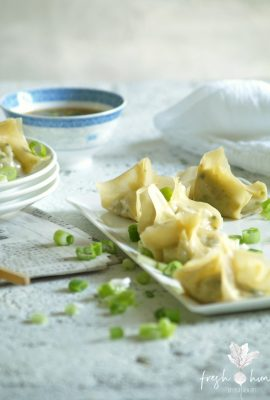 shrimp & water chestnut wontons
