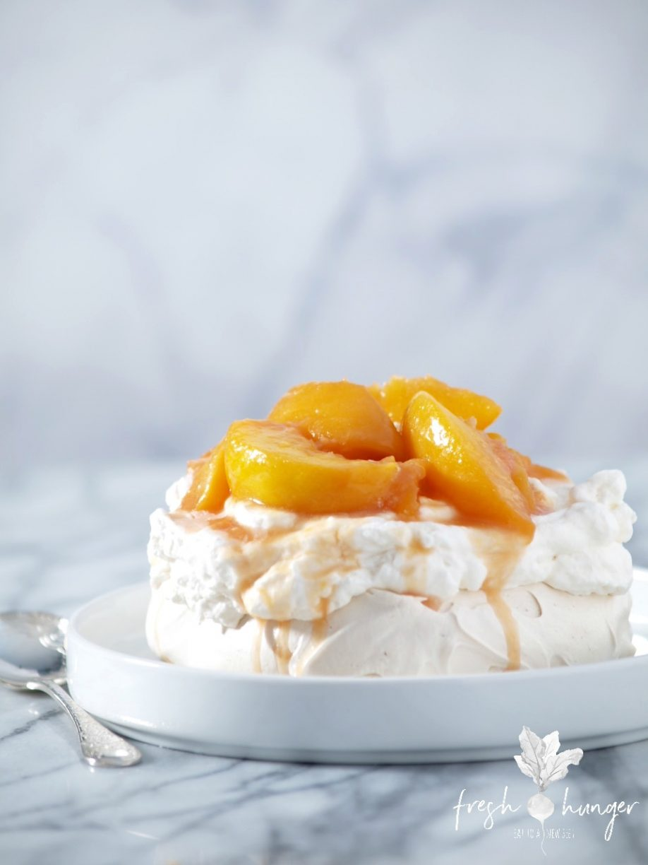 brown sugar pavlovas with rum peaches