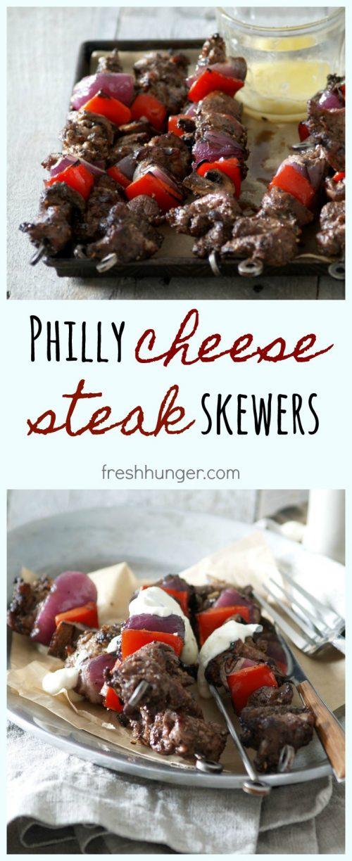 philly cheesesteak skewers
