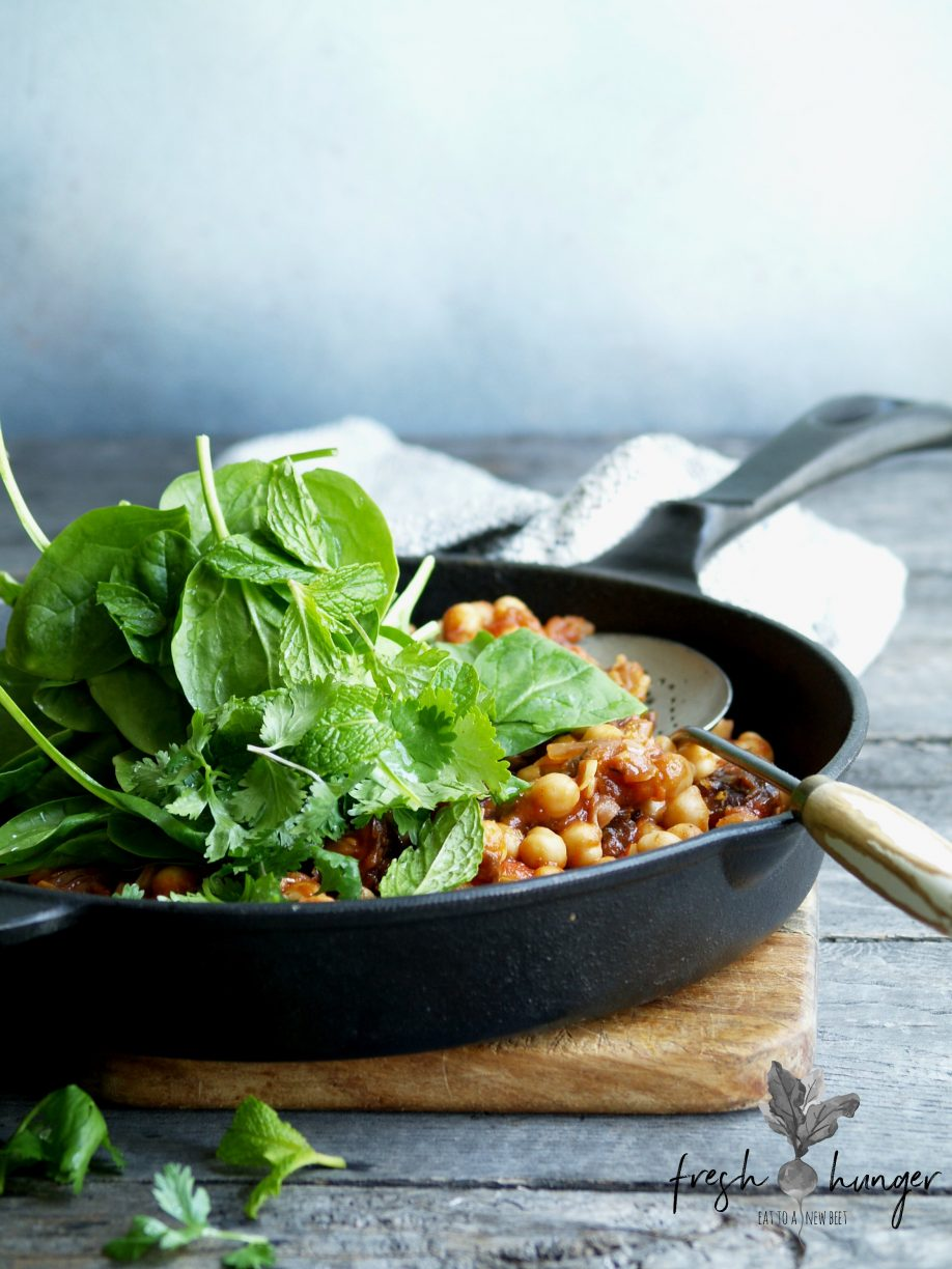 date & spinach chick peas