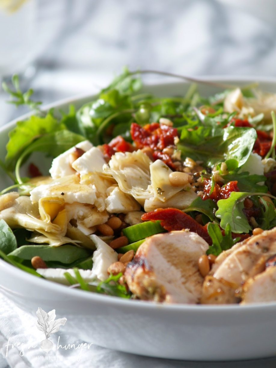 Mediterranean grilled chicken salad