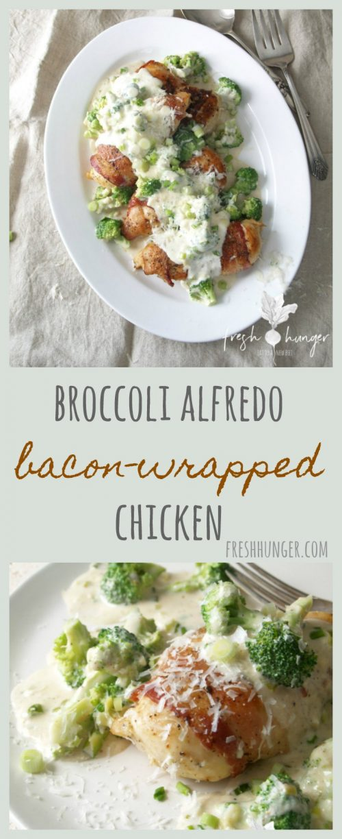 BACON WRAPPED CHICKEN & BROCCOLI ALFREDO