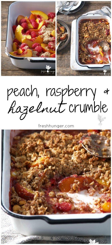 peach, raspberry & nut crumble