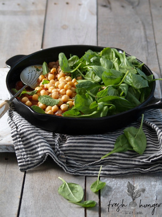 quick beef, spinach & garbanzo curry