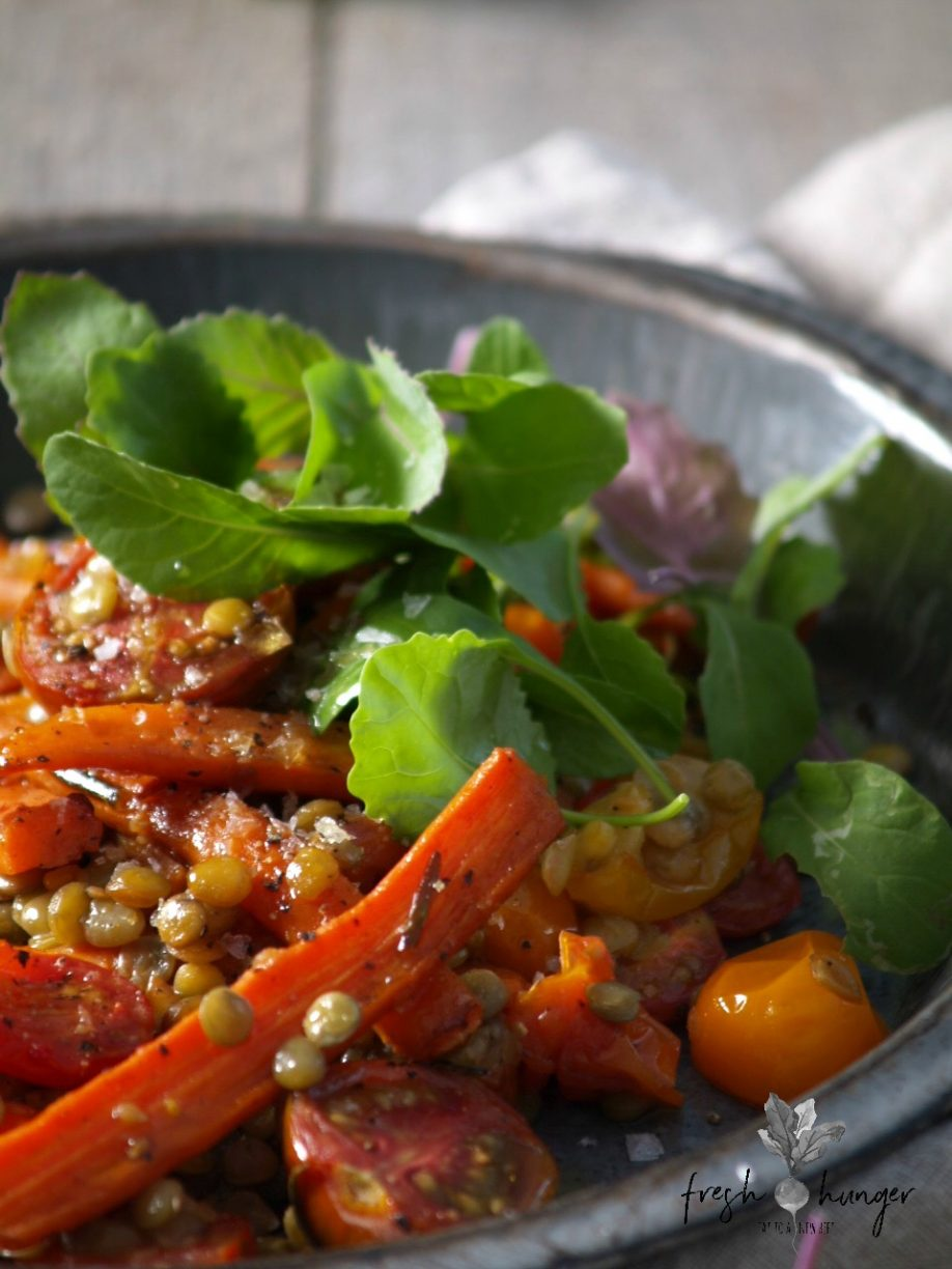 Warm roasted carrot, tomato & lentil salad is one of the many super simple recipes I make that I hesitate to share because of its simplicity & rusticness. Simple, wholesome foods
