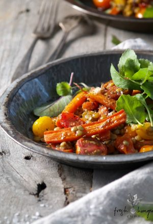 warm roasted carrot, tomato & lentil salad