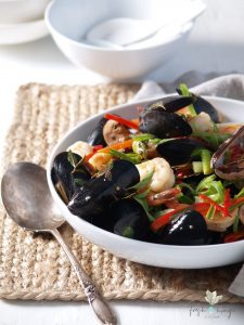 thai basil mussel & shrimp stir-fry