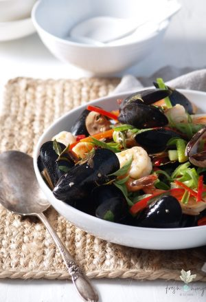 thai basil mussels & shrimp stir-fry