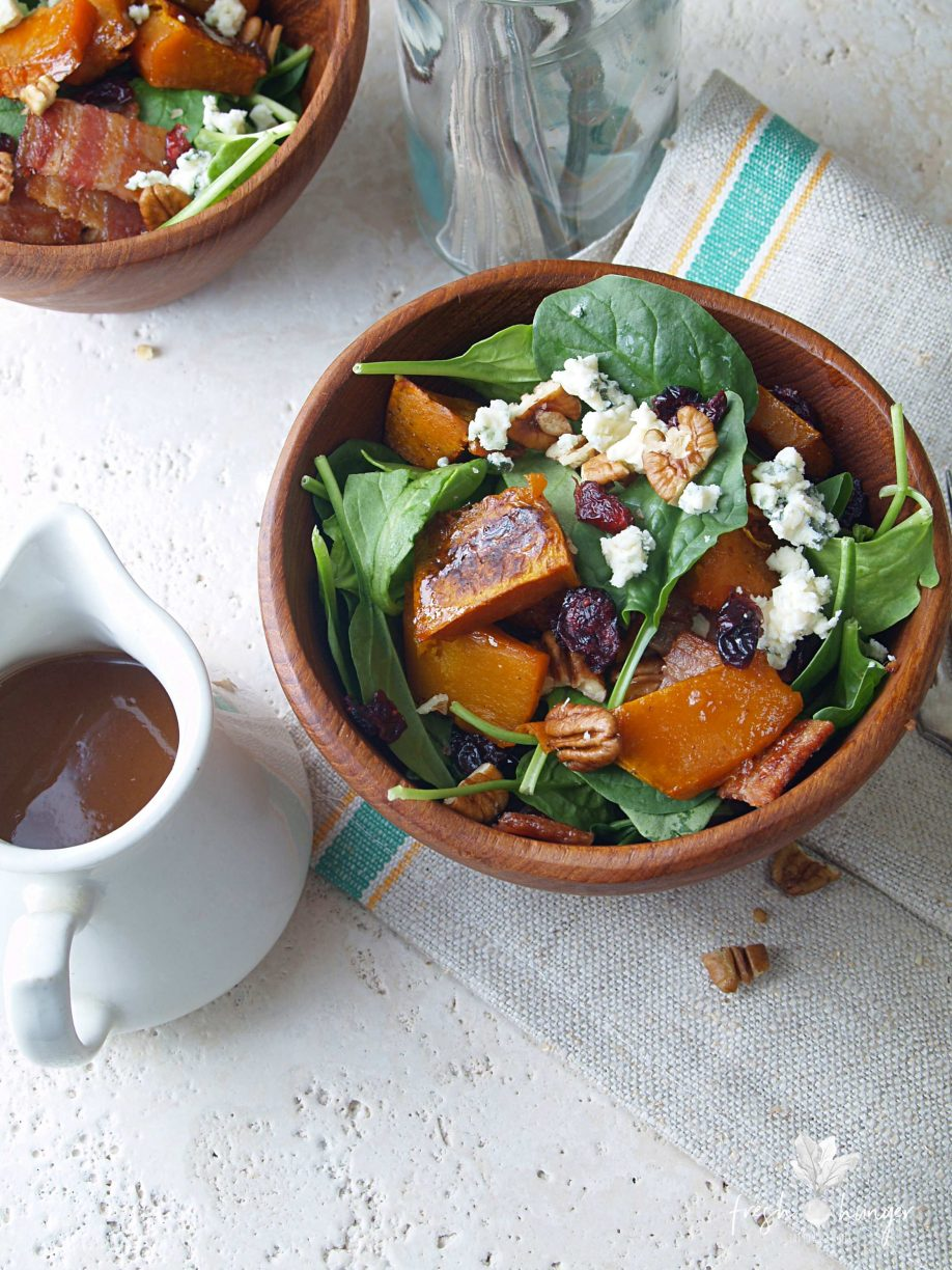 roasted pumpkin, spinach & cranberry salad