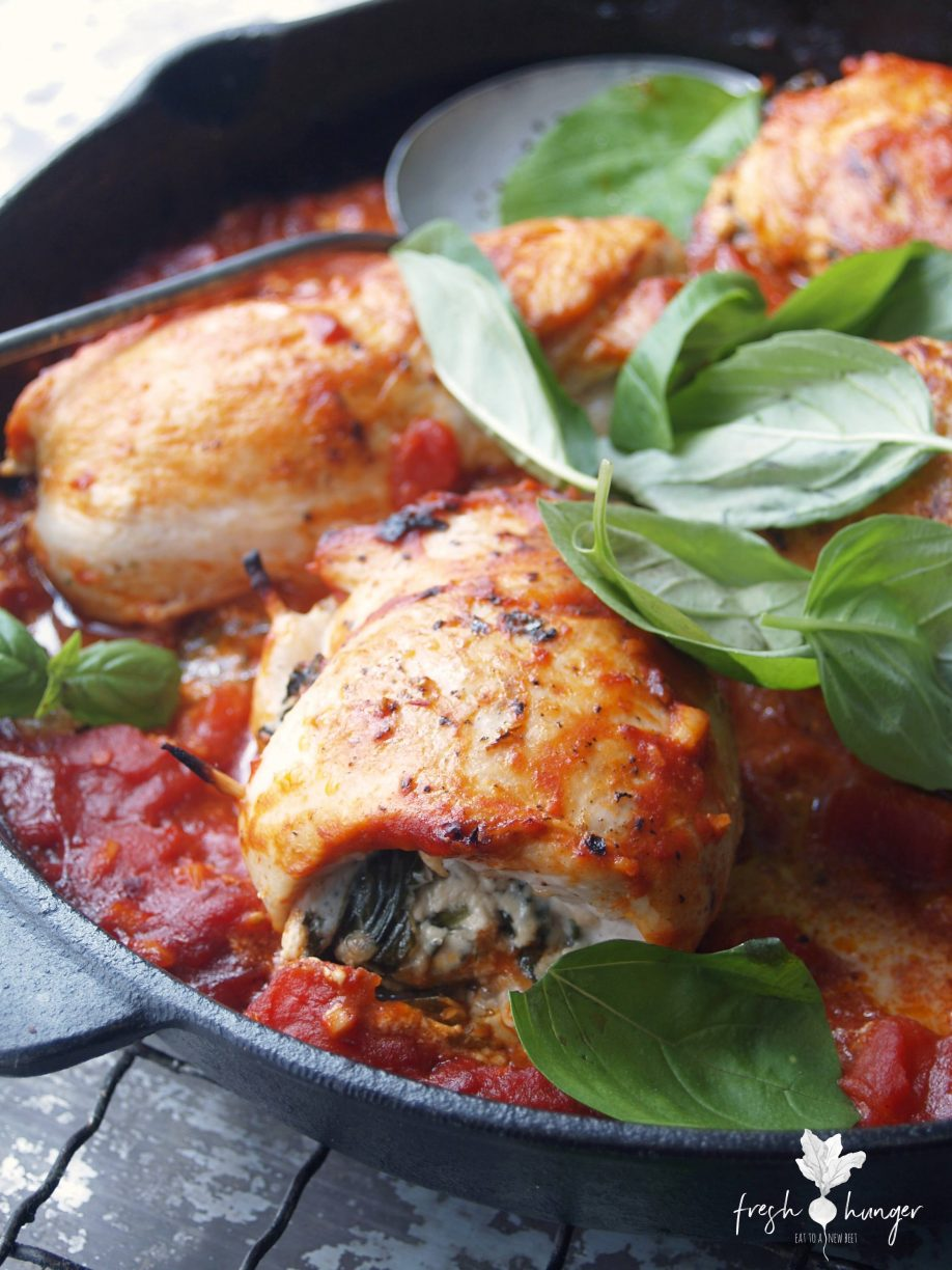 goat cheese & spinach stuffed chicken breasts