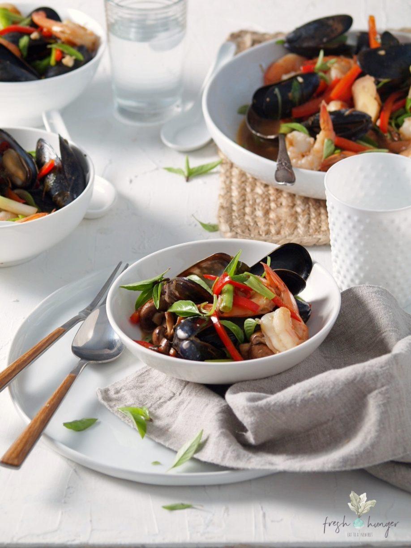 thai basil mussel & shrimp stir-fry