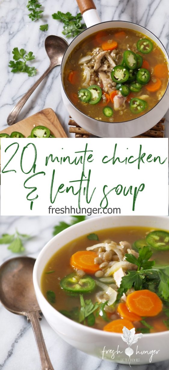20 minute chicken & lentil soup