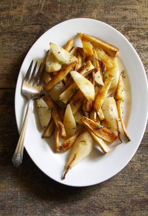 maple roasted parsnips & pears