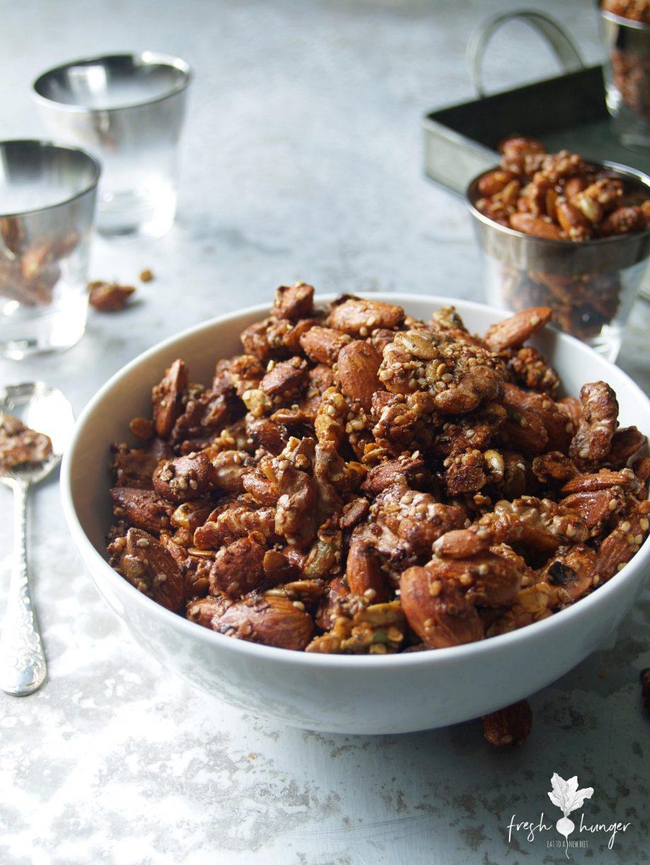 crunchy festive spiced nuts