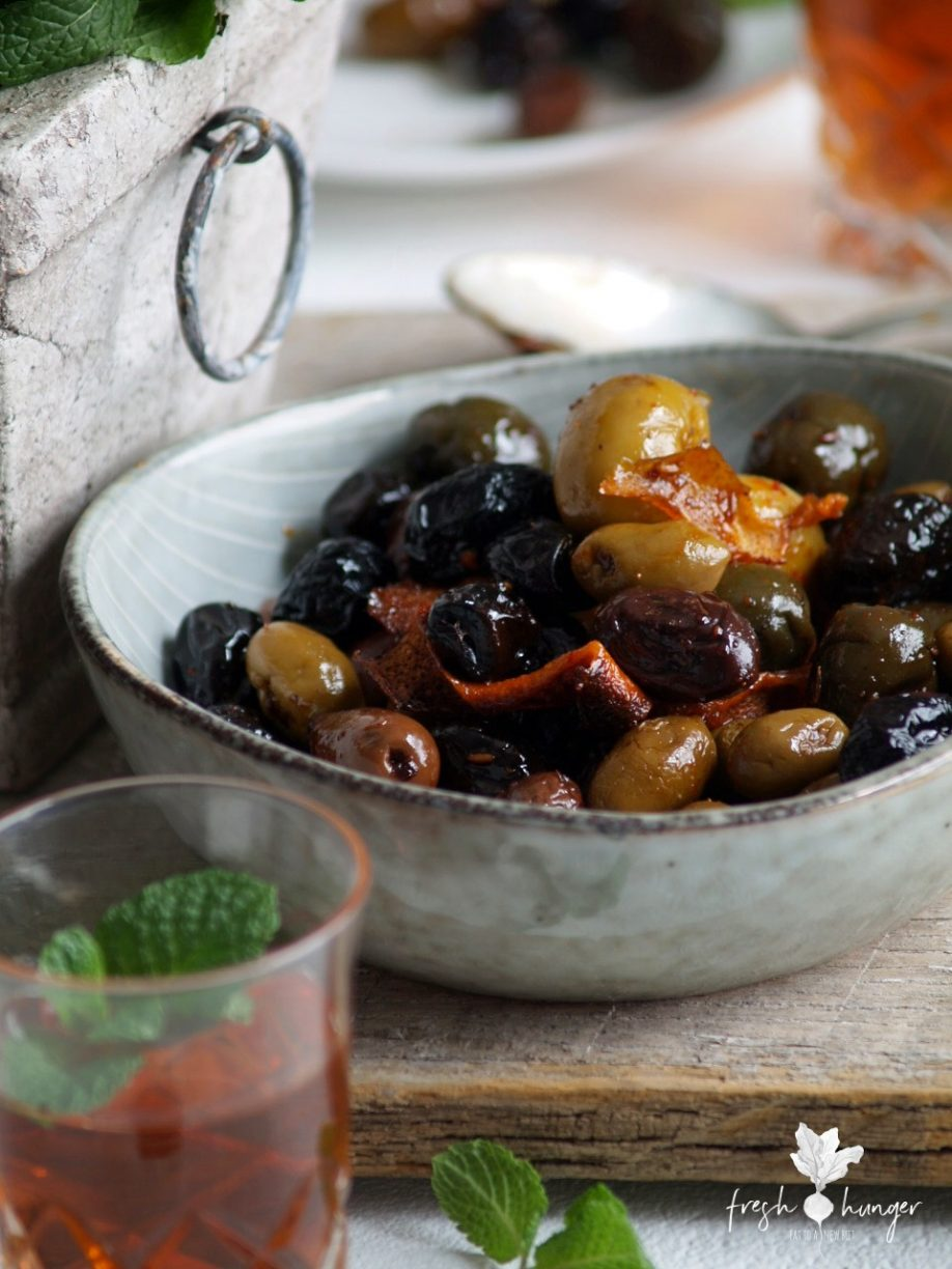 warm moroccan roasted olives