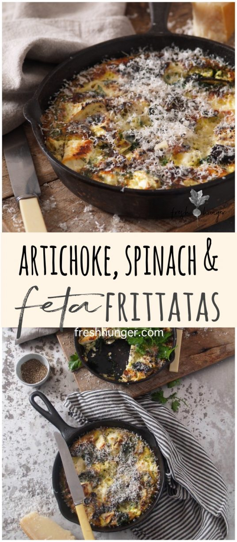 artichoke, spinach & feta frittatas
