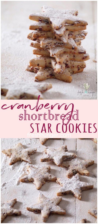 cranberry shortbread star cookies