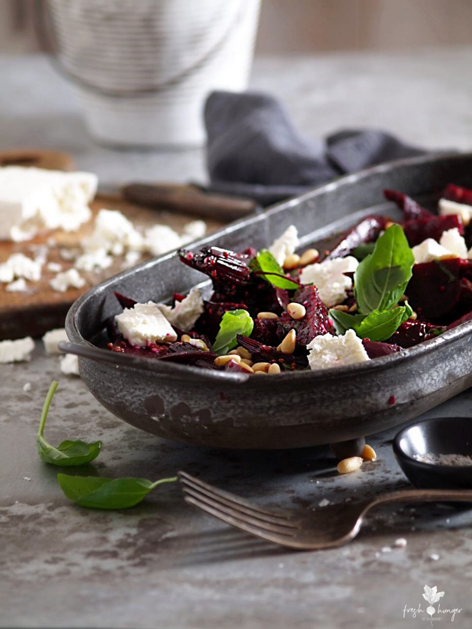 mustard beets with pine nuts & feta