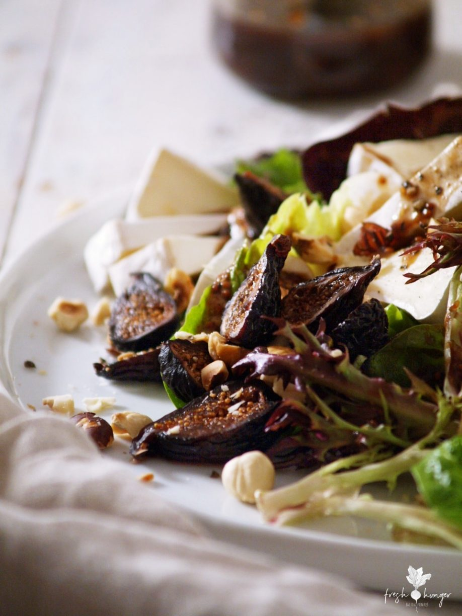 fig, pear, hazelnut & brie salad