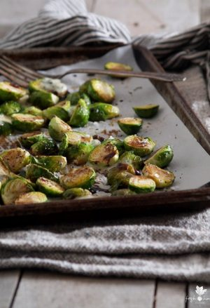 Roasted Blue Cheese Balsamic Brussels Sprouts