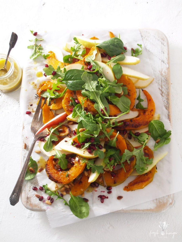 roasted squash, pear & arugula salad