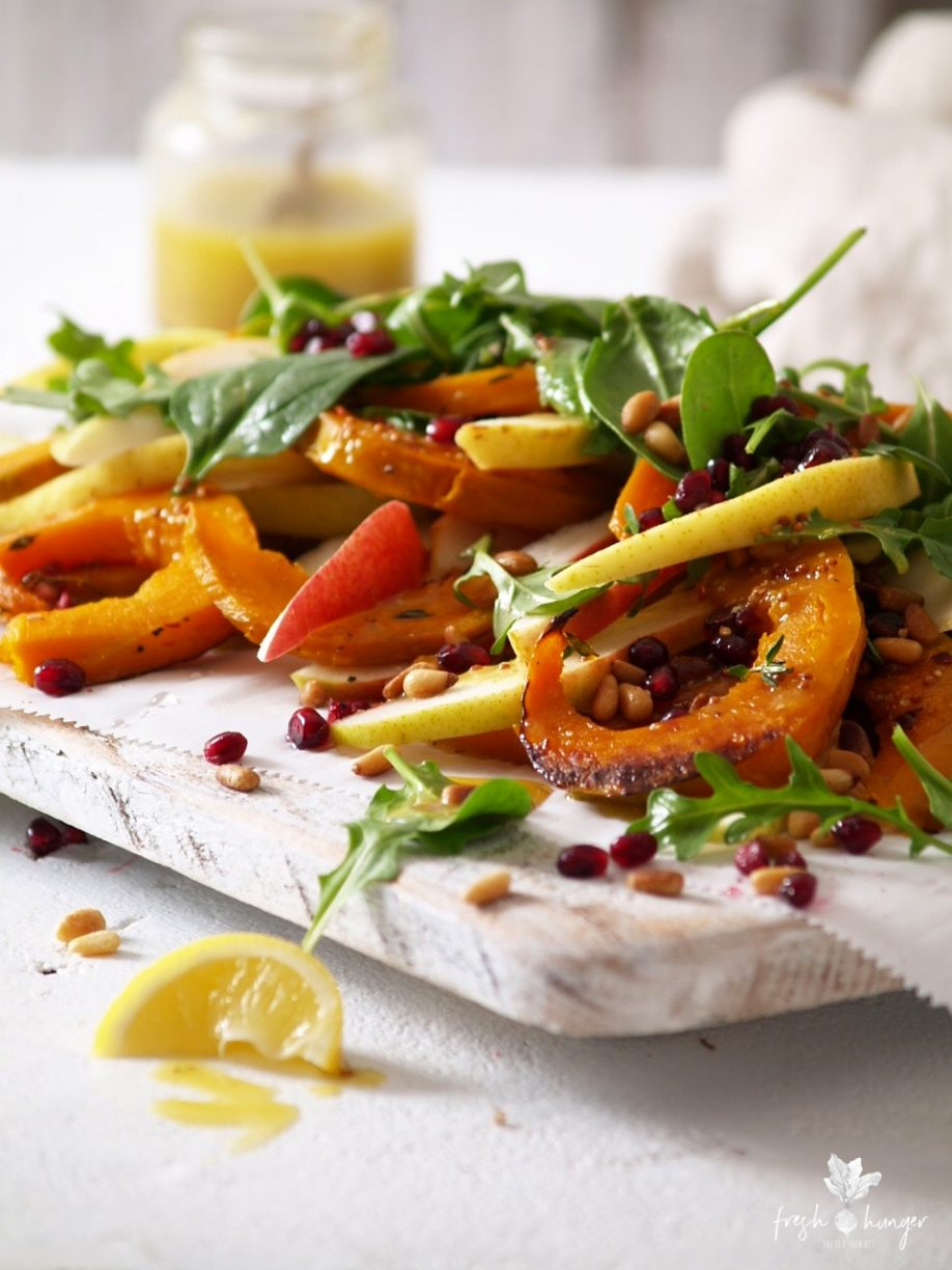 roasted squash, pear & arugula salad