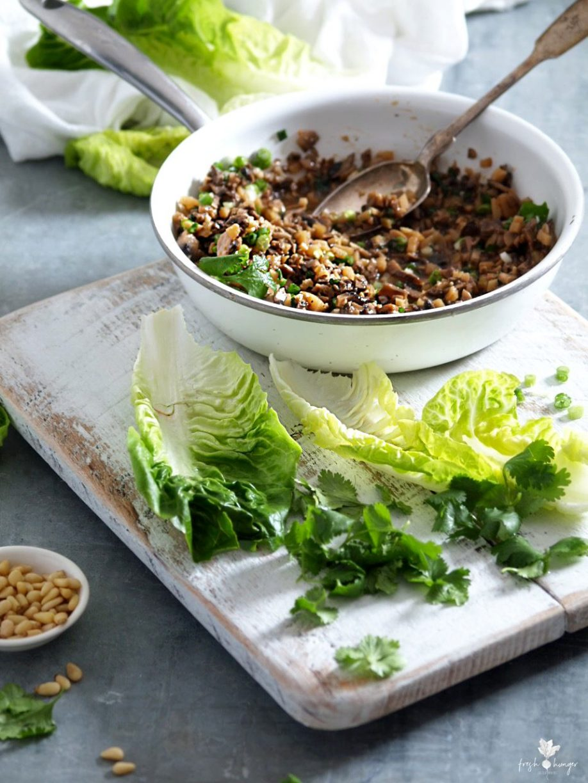 Mushroom Water Chestnut San Choy Bau (lettuce wraps)
