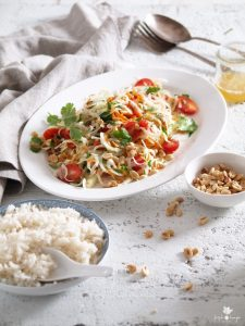 green papaya salad & coconut rice