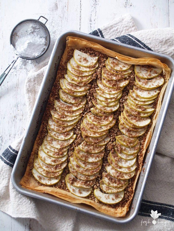 apple, pecan & ginger phyllo tart