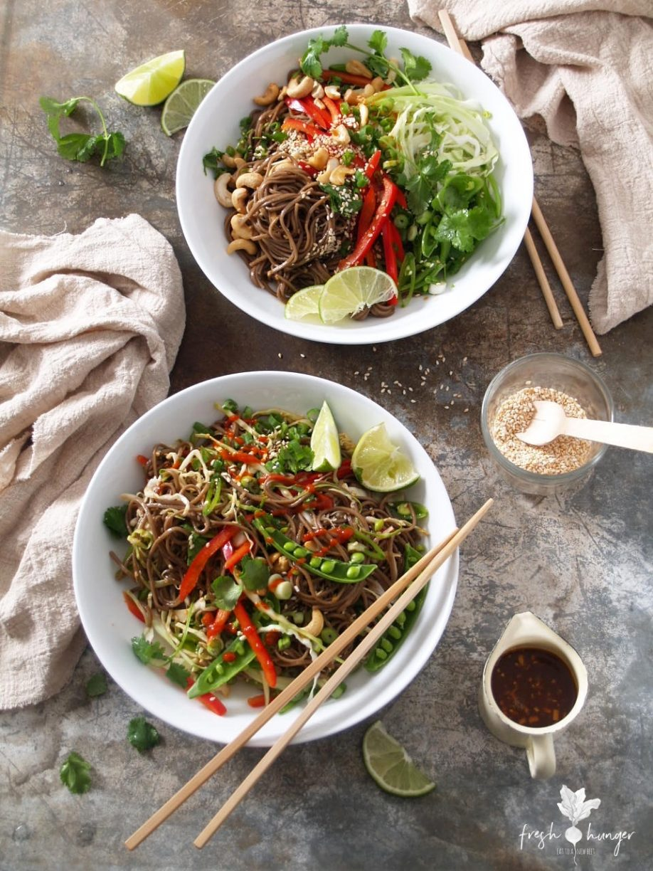 Sesame Ginger Noodle Salad with Cashews