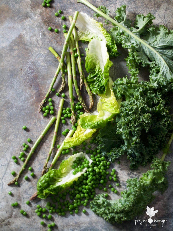 Crispy Kale, Pea & Asparagus Caesar Salad