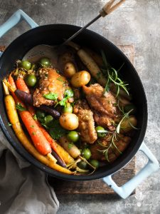 Rustic Country Chicken with Olives, Potatoes & Leek