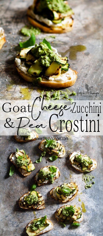 Goat Cheese, Zucchini & Pea Crostini