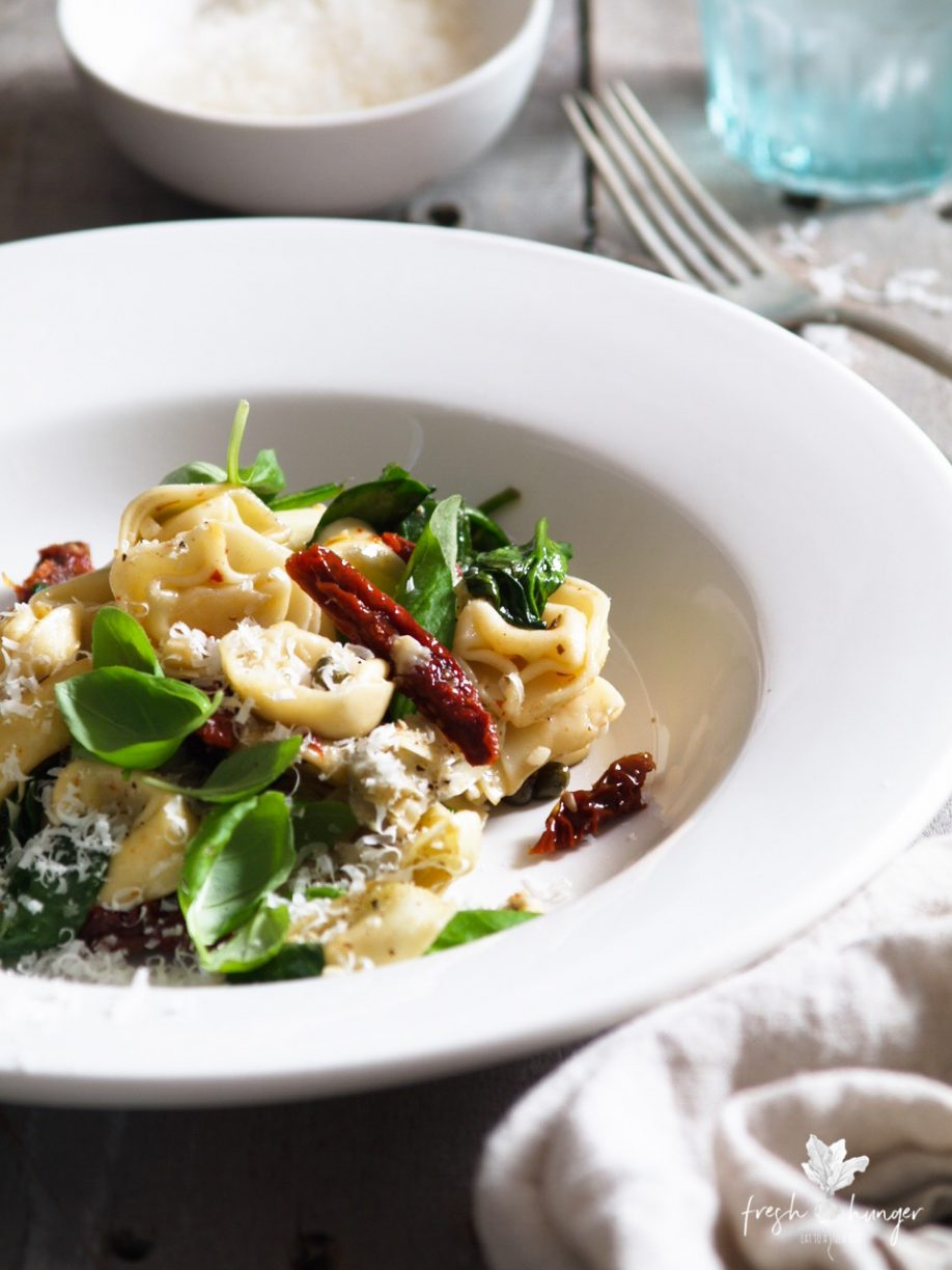 Tortellini with Spinach, Artichokes & Sun-Dried Tomatoes