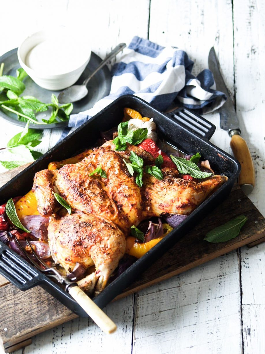 One Pan Harissa Chicken with Peppers & Mint
