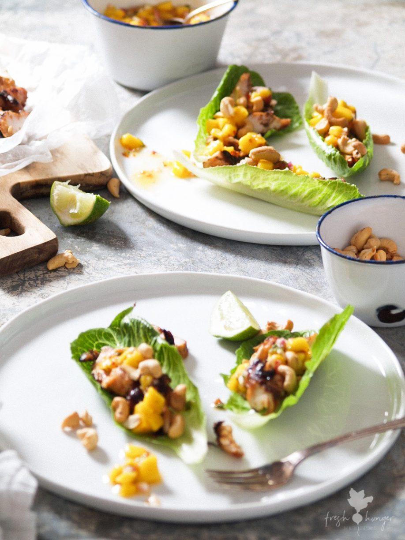 Thai Chicken, Cashew & Mango Lettuce Wraps