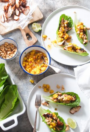Thai Chicken, Cashew & Mango Lettuce Wraps