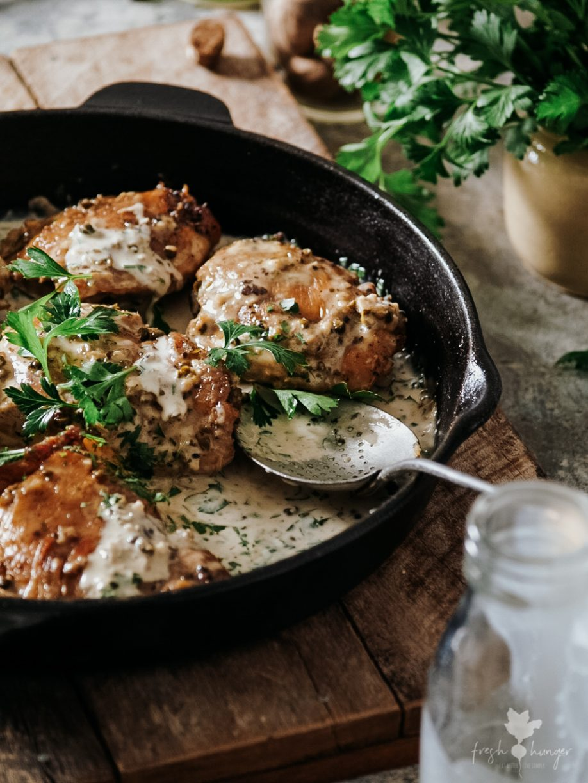 Easy Green Peppercorn Chicken