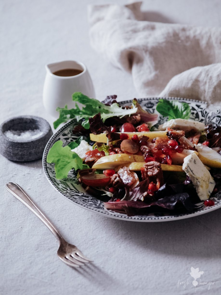 Festive Grape, Pear & Candied Bacon Salad