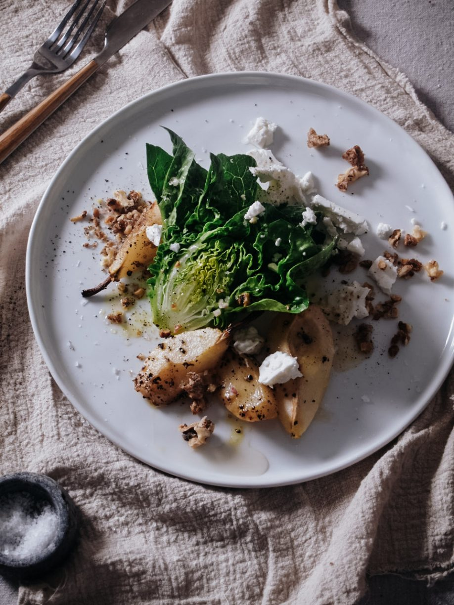 Baby Lettuce, Roasted Pear & Candied Walnut Salad