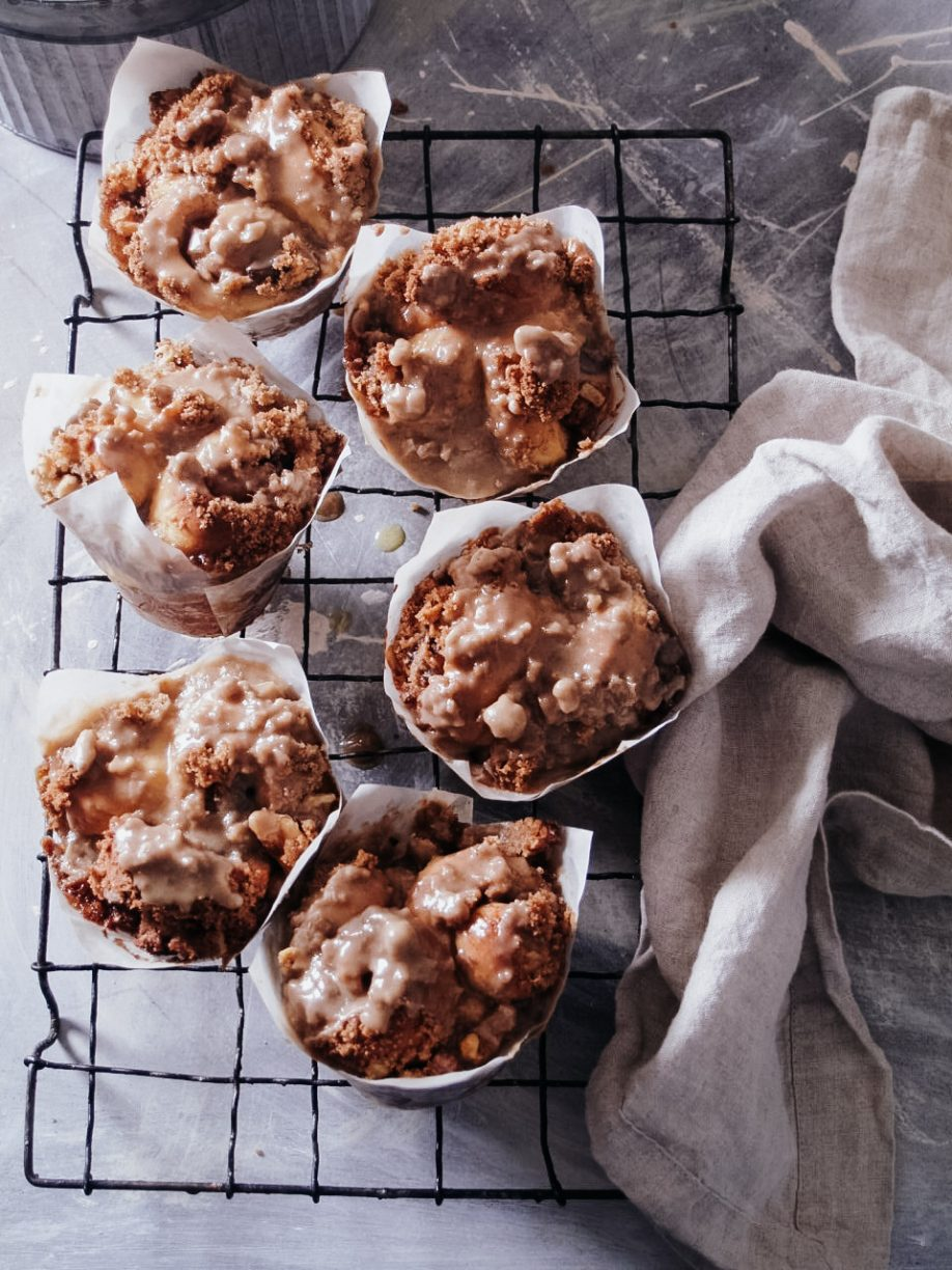 Apple Spice & Walnut Streusel Bruffins with Bourbon Caramel Glaze