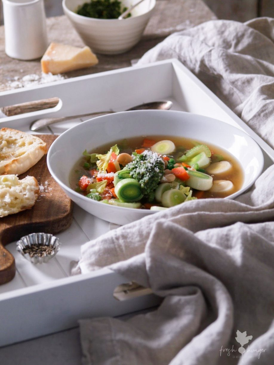 White Bean & Veggie Soup with Pesto