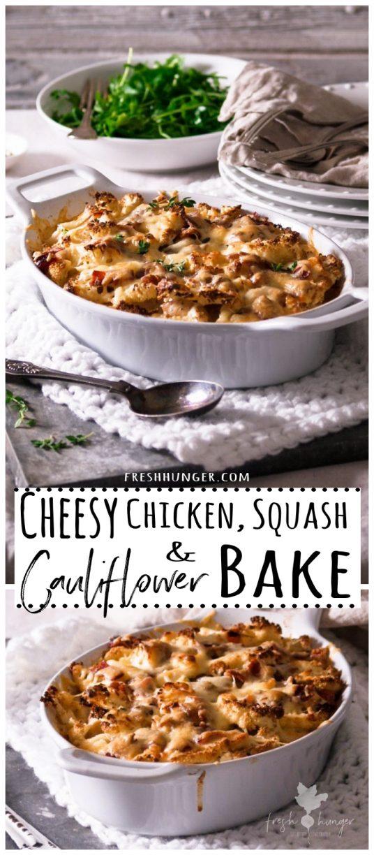 Cheesy Chicken, Squash & Cauliflower Bake