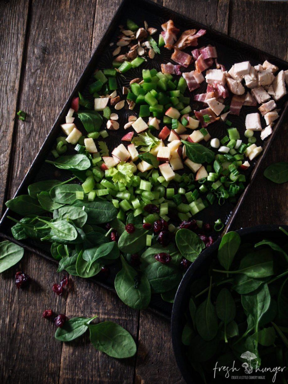 spinach & chicken chopped salad