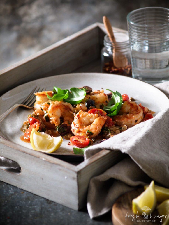 tomato & olive shrimp