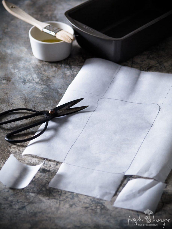 lining a cake pan