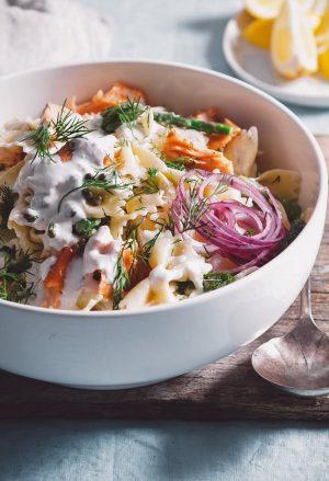 salmon asparagus pasta salad
